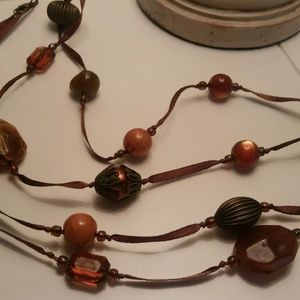 "50"" brown ribbon with plastic beads necklace"